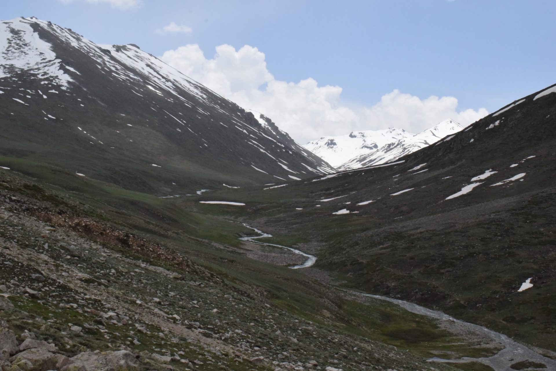 Deosai National Park Valley in Summer with lush green mountains with a view of Astore river