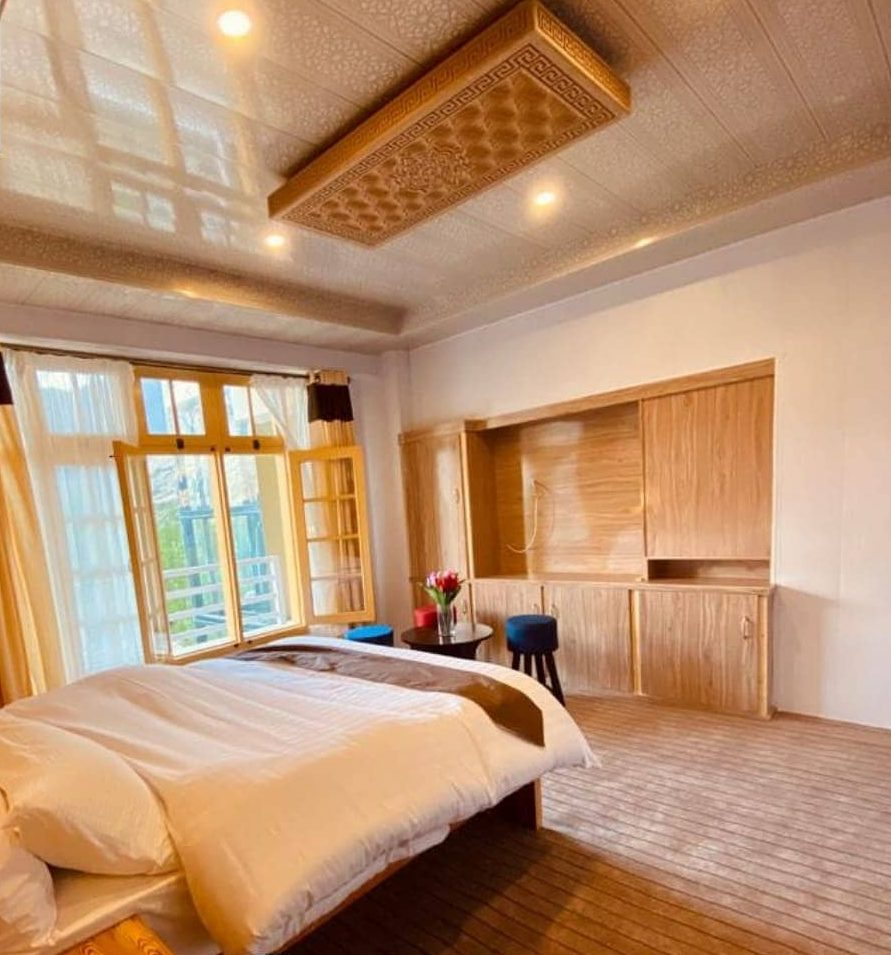 Double bed in a room of hunza valley hotel