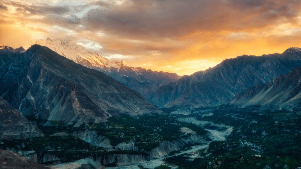 Sunset in Hunza Valley Karimabad